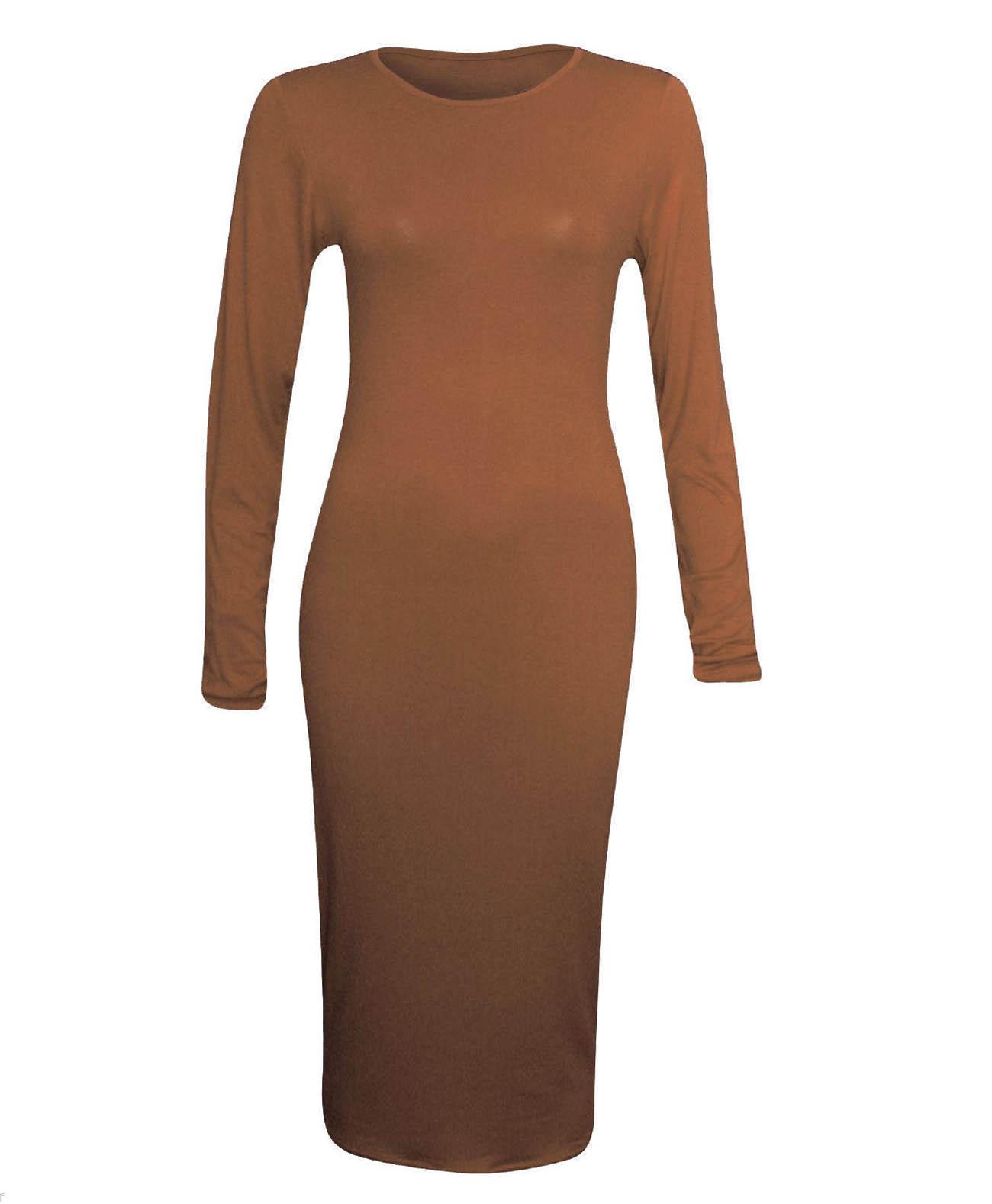 Long Sleeve Bodycon Dress Brown – Soha MT Collection 57dd3bde8769